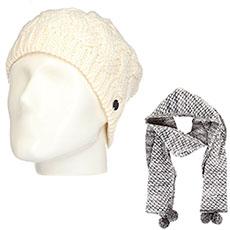 Комплект женский Roxy: шапка Love-snowbeanie Egret + шарф Co Of The F Sca Heritage Heather