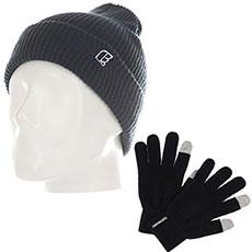 Комплект Footwork: шапка Footwork Icon Dark Denim + перчатки Footwork iFingers Black