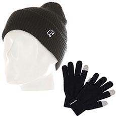 Комплект Footwork: шапка Footwork Icon Black + перчатки Footwork iFingers Black