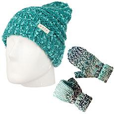 Комплект зимний: шапка женская Neff Rose Beanie Dark Teal + варежки женские Dakine Jade Flap Mitt Clearwater