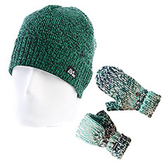 Комплект Dakine: шапка-носок женская Dakine Cleo Navy Stripe + варежки женские Dakine Jade Flap Mitt Ocean