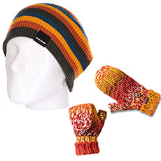 Комплект Dakine: шапка-носок женская Dakine Cleo Black Stripe + варежки женские Dakine Jade Flap Mitt Ocean