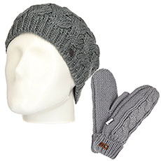 Комплект женский Roxy: шапка Love-snowbeanie Mid Heather Grey + варежки Winter Mittens Warm Heather Grey