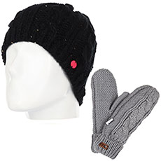 Комплект женский Roxy: шапка Glacialis Beani True Black + варежки Winter Mittens Warm Heather Grey