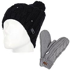 Комплект женский Roxy: шапка Shooting Star Black + варежки Winter Mittens Warm Heather Grey