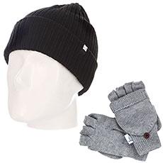 Комплект зимний: шапка DC Fish N Destroy Black + варежки женские Roxy Frozen Jaya Mit Warm Heather Grey