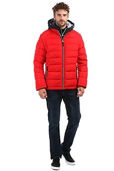 Утепленная мужская пуховая куртка красного цвета с капюшоном и двойной застежкой A PASSION PLAY