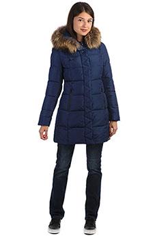 Женское зимнее пальто с капюшоном с мехом синее A PASSION PLAY