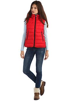 Женский утепленный стеганый жилет с капюшоном красного цвета A PASSION PLAY