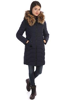 Женское зимнее утепленное пальто с капюшоном синего цвета A PASSION PLAY