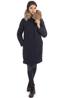 Женское зимнее утепленное пальто с капюшоном и меховой отделкой синего цвета A PASSION PLAY