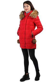 Женское зимнее пальто с мехом с капюшоном красное A PASSION PLAY