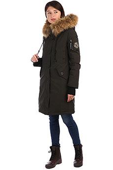 Женское зимнее пальто с рисунком с капюшоном с мехом хаки A PASSION PLAY