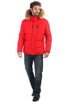 Мужская зимняя куртка с капюшоном и меховой отделкой красного цвета A PASSION PLAY