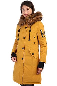 Женское зимнее пальто с рисунком с капюшоном с мехом желтое A PASSION PLAY