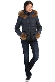 Женская зимняя куртка с варежками с капюшоном с мехом синяя A PASSION PLAY