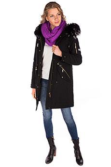 Женское зимнее пальто с капюшоном с мехом черное A PASSION PLAY