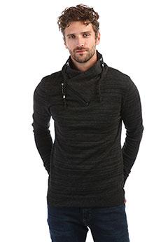 Мужской серый свитер с асимметричным воротом на молнии A PASSION PLAY