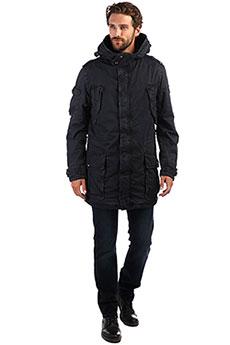 Мужская демисезонная хлопковая куртка с капюшоном темно-синяя NAGANO