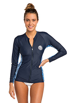 Гидрофутболка женская Rip Curl Moontide Zip Thru L/S Blue/White