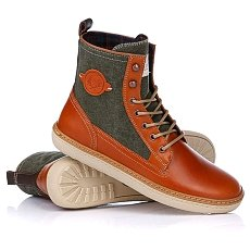 Ботинки высокие Fred Perry Driscoll Leather/Washed Canvas Tan/Hunter Green