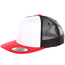 Бейсболка с сеткой Flexfit Yupoong 6005fw No Foam Red/White/Black