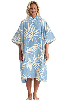 Пончо женское Billabong Wmns Hooded Towel Blue Palms
