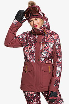 Куртка сноубордическая женский Roxy Andie Parka Oxblood Red Leopold