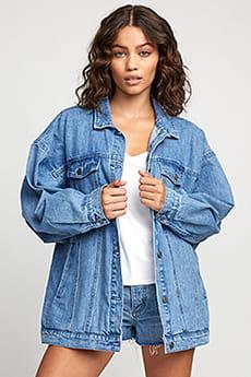Куртка джинсовая женская Rvca Lounger Denim Jacket Washed Out Blue