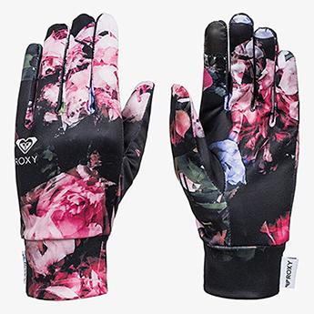 Перчатки сноубордические женские Roxy Liner Gloves True Black Blooming
