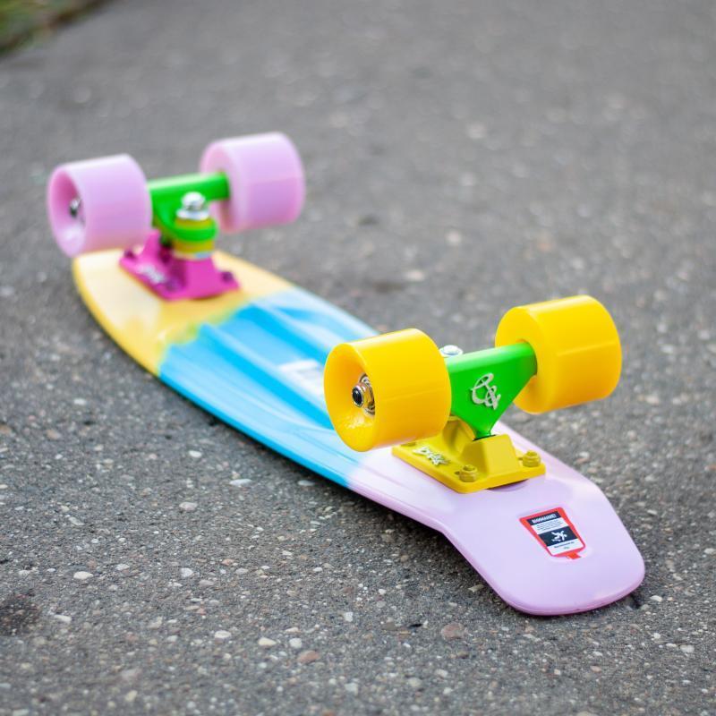 Скейт мини круизер Пластборды Cranberry Yellow/Light Blue/Pink 6 x 22.5 (57 см)