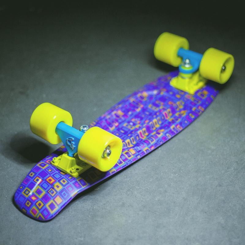 Скейт мини круизер Пластборды Jeans 1 Purple/Blue/Yellow 6 x 22.5 (57 см)